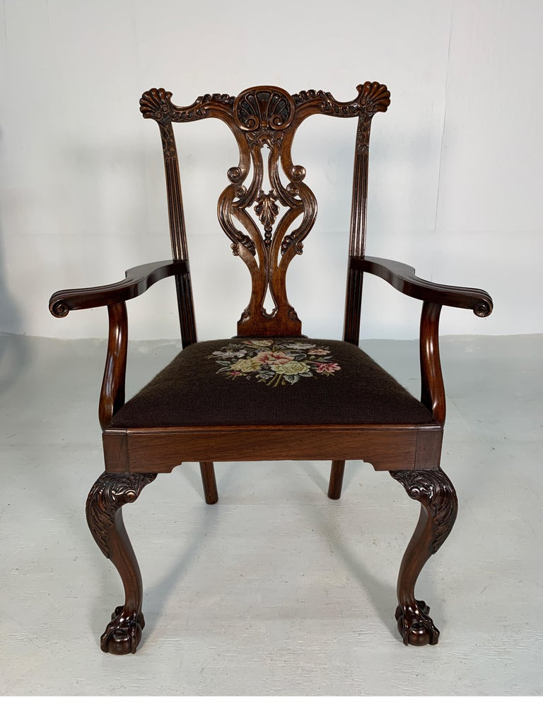 Late 19th Century Set of Ten Beautifully Hand Carved Mahogany Chippendale Style Chairs, circa 1870 For Sale