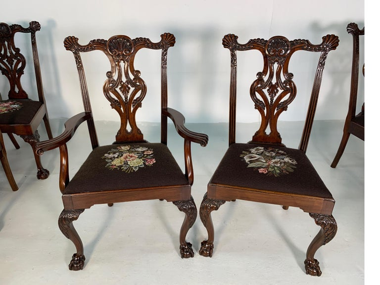 Set of Ten Beautifully Hand Carved Mahogany Chippendale Style Chairs, circa 1870 For Sale 1