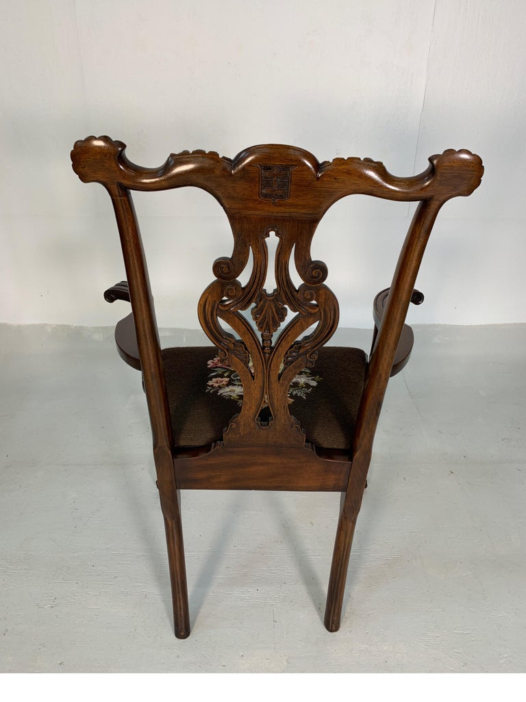 Set of Ten Beautifully Hand Carved Mahogany Chippendale Style Chairs, circa 1870 For Sale 3
