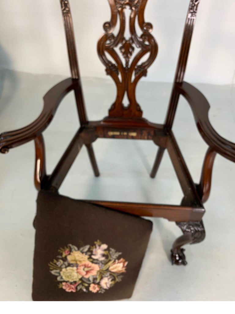 Set of Ten Beautifully Hand Carved Mahogany Chippendale Style Chairs, circa 1870 For Sale 4