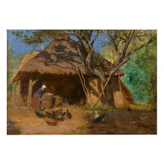 """""""Feeding the Chickens"""" French Antique Barbizon Oil Painting, circa 1870s"""