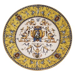 Yellow Renaissance Style Gien Platter from France, circa 1875