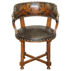 Antique Captains Chair with Embossed Leather Armorial Coat of Arms, circa 1880