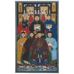 Chinese Ancestral Portrait Painting Oil Scroll Canvas Part of Suite, circa 1880