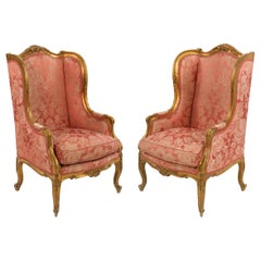 Circa 1880 French Louis XV Style Antique Arm Chairs, a Pair