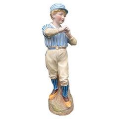 Circa 1880 German Bisque Heubach Rare Cricket Baseball Figurine, Unmarked