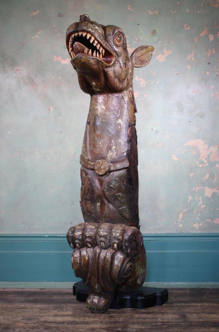 Circa 1880 Large Carved Oak Dragon Figurehead Gentleman's Yacht Maritime  For Sale 5