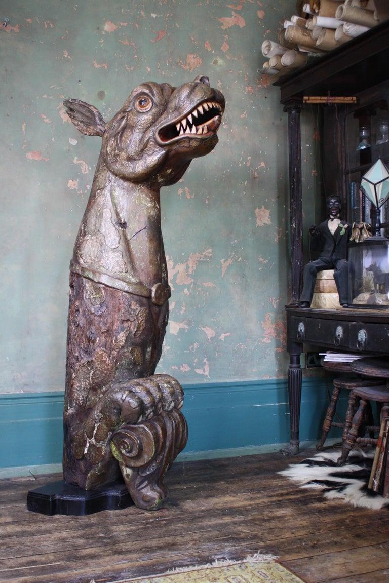 Late Victorian Circa 1880 Large Carved Oak Dragon Figurehead Gentleman's Yacht Maritime  For Sale