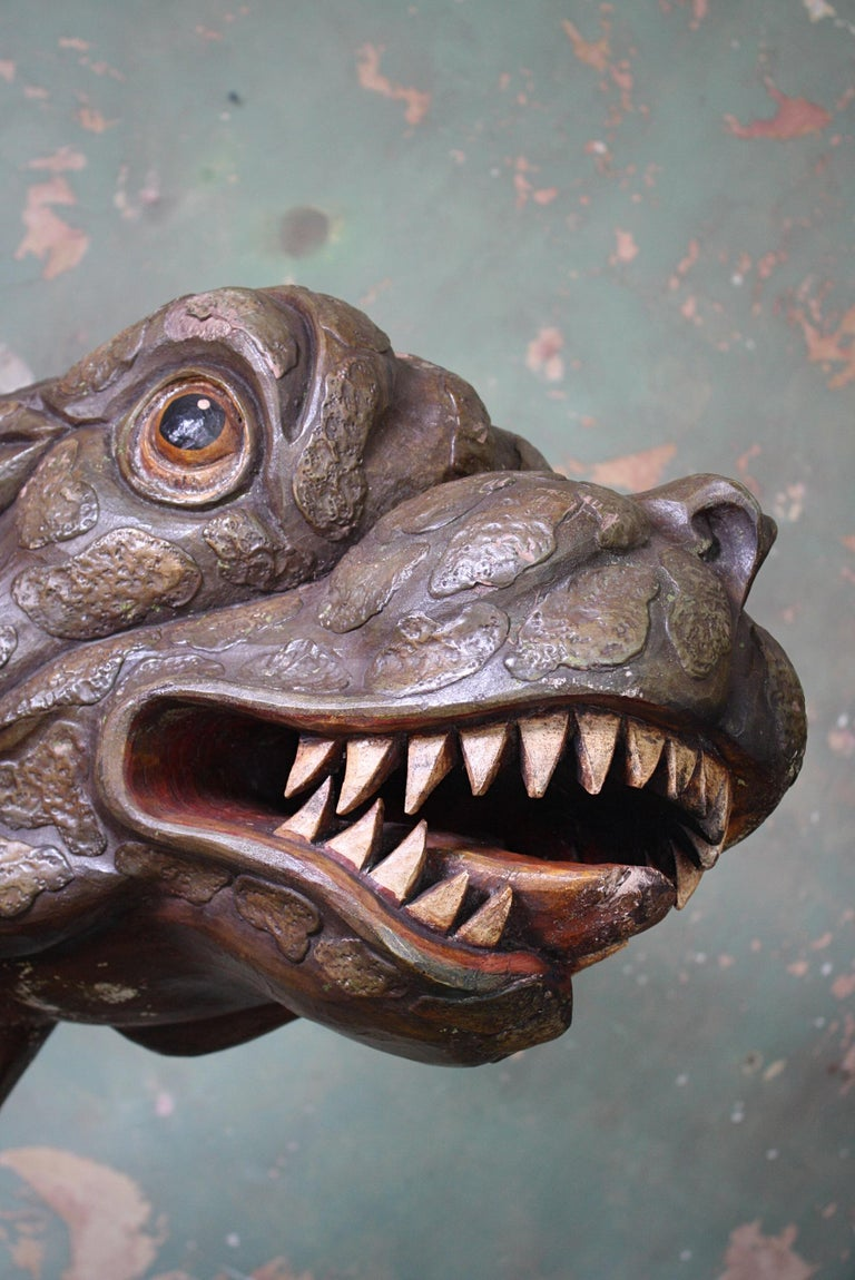 Circa 1880 Large Carved Oak Dragon Figurehead Gentleman's Yacht Maritime  In Good Condition For Sale In Lowestoft, GB