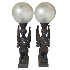 Circa 1880 Pair of Great Hand Carved Wood Winged Caryatids-Griffins Now as Lamps