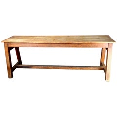 Pine Trestle Table or Console Table, circa 1880