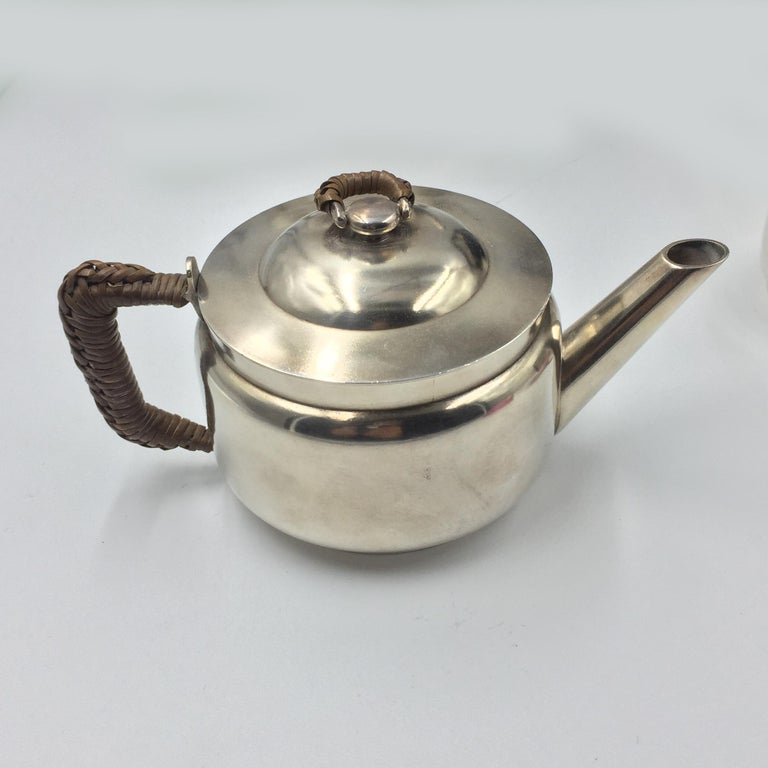 Porcelain Silver Plated Metal Christopher Dresser Tea Suitcase, circa 1880 For Sale