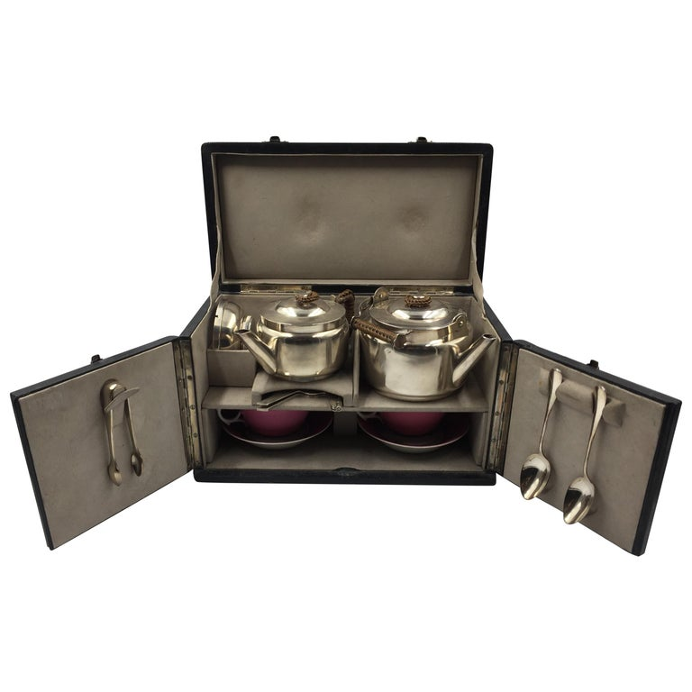 Silver Plated Metal Christopher Dresser Tea Suitcase, circa 1880 For Sale