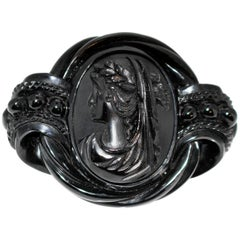 Circa 1880s Antique Whitby Jet Cameo Brooch