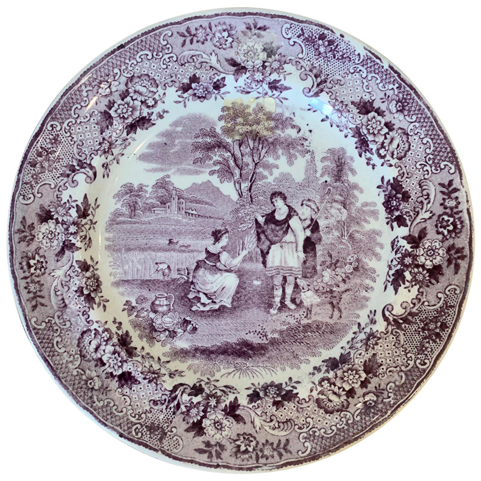 Dutch Transferware Plate in Ruth Boas Pattern by Petrus Regout & Co. circa 1880s