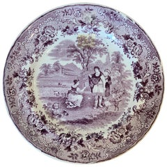 Dutch Transferware Plate in Ruth Boas Pattern by Petrus Regout & Co. circa 1880s