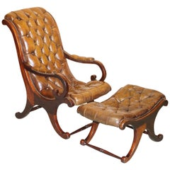 Chesterfield Brown Leather Library Armchair & Matching Foostool, circa 1890