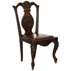 Chinese Export Dining Chair Chimera Dragons Etc Part of Large Suite, circa 1890