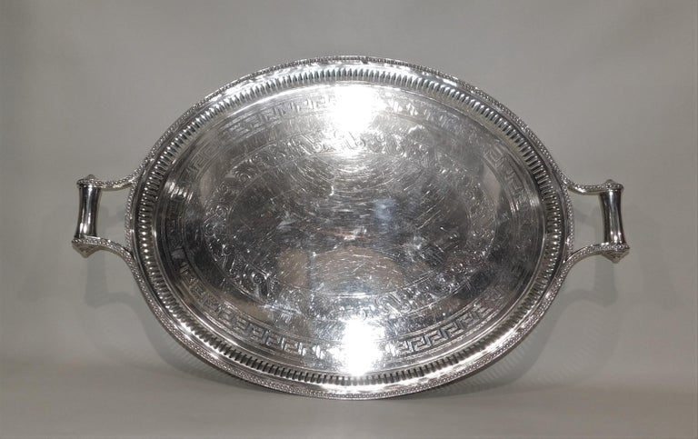 Large Vintage Oval English Silver Plated Serving Tray with Handles, circa 1890 For Sale 6