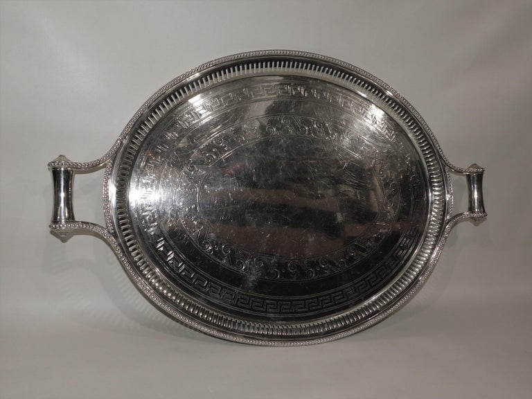 Large Vintage Oval English Silver Plated Serving Tray with Handles, circa 1890 For Sale 7