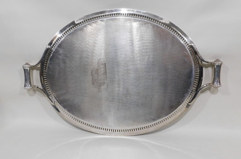 Large Vintage Oval English Silver Plated Serving Tray with Handles, circa 1890 For Sale 8