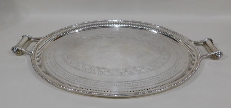 Large Vintage Oval English Silver Plated Serving Tray with Handles, circa 1890 In Good Condition For Sale In Hamilton, Ontario