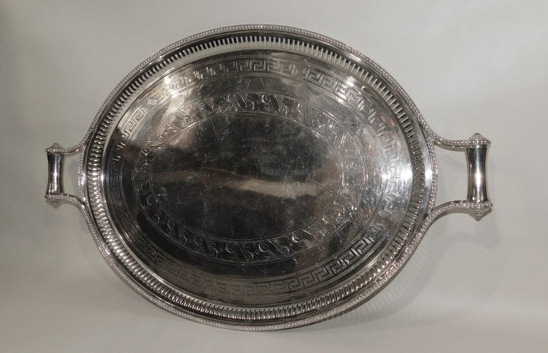Large Vintage Oval English Silver Plated Serving Tray with Handles, circa 1890 For Sale 2