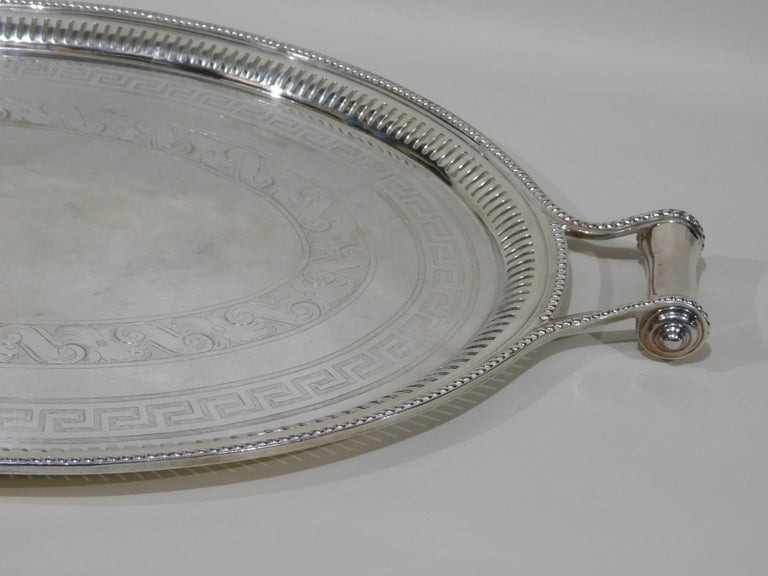 Large Vintage Oval English Silver Plated Serving Tray with Handles, circa 1890 For Sale 3