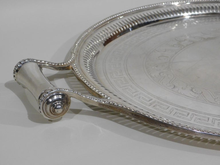 Large Vintage Oval English Silver Plated Serving Tray with Handles, circa 1890 For Sale 4