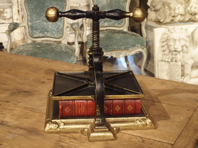 Painted Cast Iron Book Press from Germany, circa 1890 In Good Condition For Sale In Dallas, TX