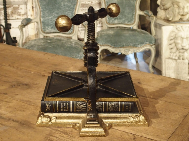 19th Century Painted Cast Iron Book Press from Germany, circa 1890 For Sale