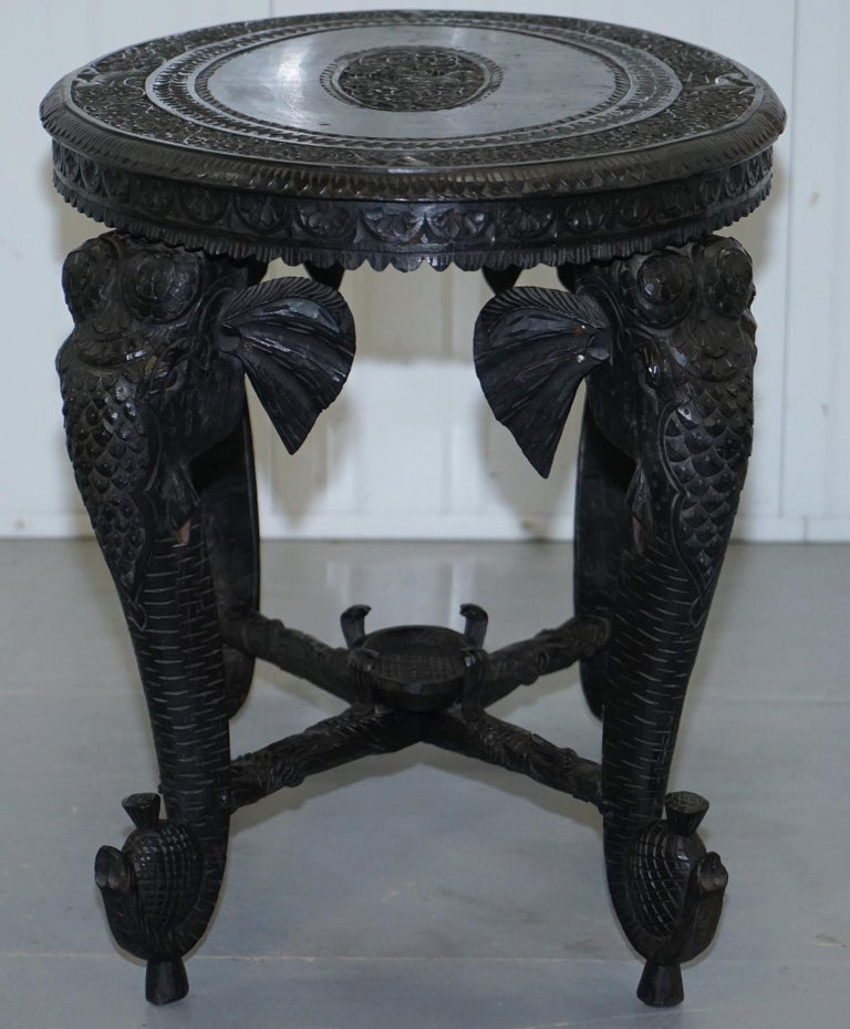 Anglo Indian Elephant & Buddha Hand Carved Rosewood Coffee Side Table circa 1900 For Sale 9