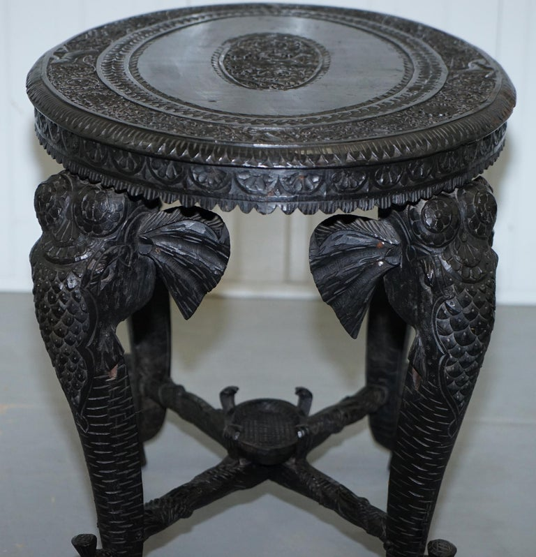 Anglo Indian Elephant & Buddha Hand Carved Rosewood Coffee Side Table circa 1900 For Sale 10