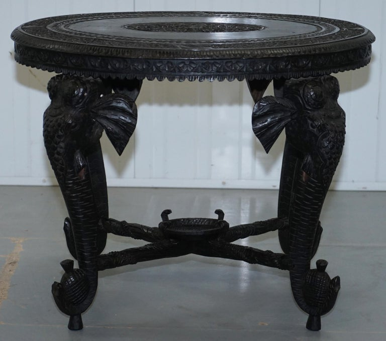 Anglo Indian Elephant & Buddha Hand Carved Rosewood Coffee Side Table circa 1900 For Sale 11
