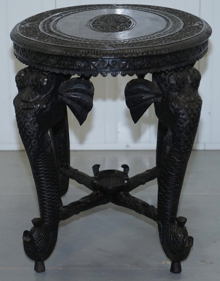 Anglo Indian Elephant & Buddha Hand Carved Rosewood Coffee Side Table circa 1900 For Sale 13