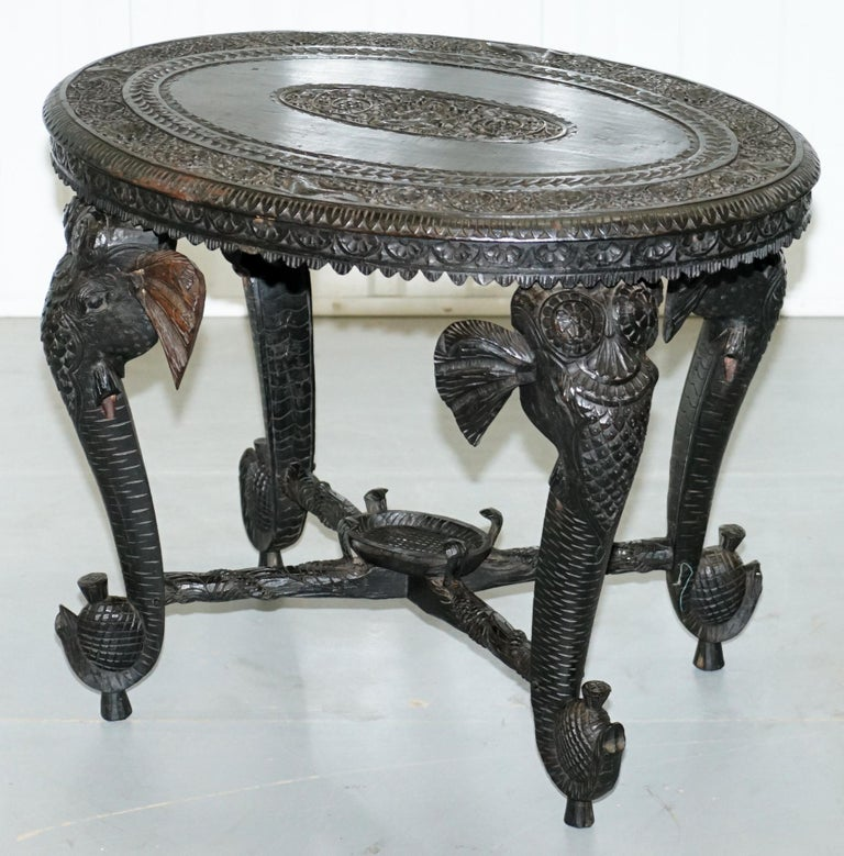 Anglo-Indian Anglo Indian Elephant & Buddha Hand Carved Rosewood Coffee Side Table circa 1900 For Sale