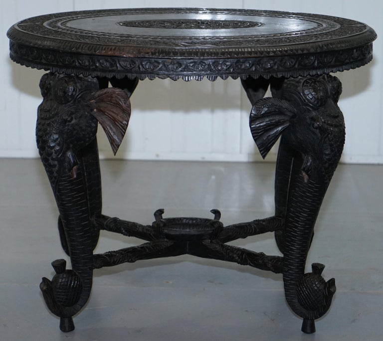 Anglo Indian Elephant & Buddha Hand Carved Rosewood Coffee Side Table circa 1900 For Sale 3