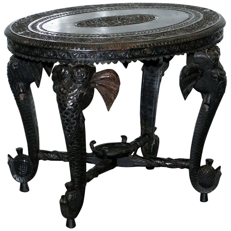 Anglo Indian Elephant & Buddha Hand Carved Rosewood Coffee Side Table circa 1900 For Sale