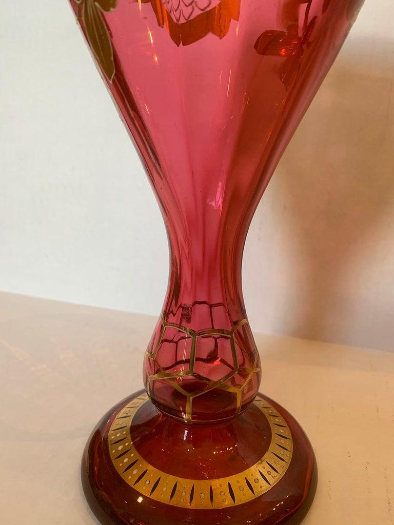 Art Nouveau Gilt and Ruby Glass Vase, circa 1900 For Sale 8