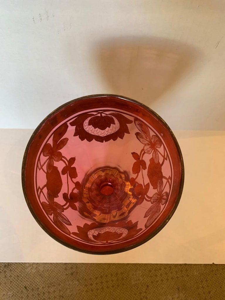 Art Nouveau Gilt and Ruby Glass Vase, circa 1900 In Good Condition For Sale In Atlanta, GA