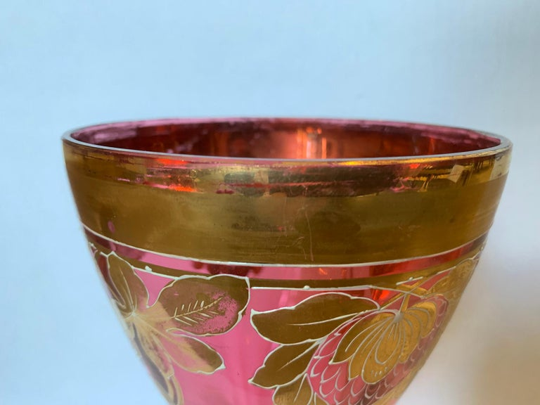 Art Nouveau Gilt and Ruby Glass Vase, circa 1900 For Sale 4
