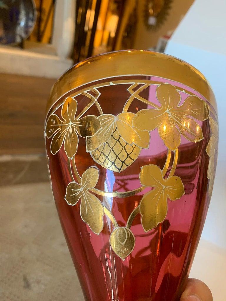 Art Nouveau Gilt and Ruby Glass Vase, circa 1900 For Sale 5