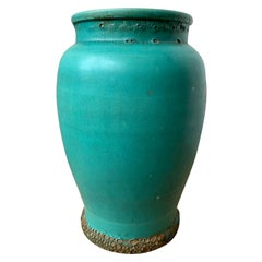 Blue Glazed Pottery Blister Ware Jar, circa 1900