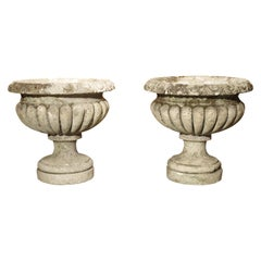Carved Vicenza Stone Vases from Italy, circa 1900