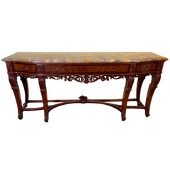Continental Carved Walnut and Inlaid Marble-Top Console/Sideboard, circa 1900