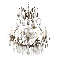 Antique French Eight Light Crystal Chandelier