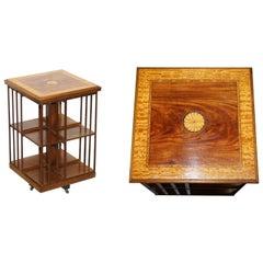Edwardian Burr Walnut & Satinwood Revolving Bookcases Sheraton Inlaid circa 1900