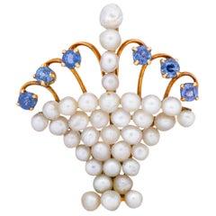 Edwardian Pearl Sapphire 14 Karat Gold Flower Basket Pendant, circa 1900