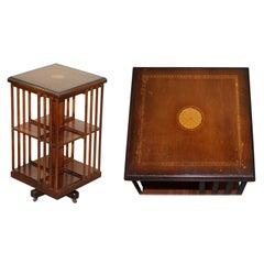 Circa 1900 Edwardian Revolving Bookcases Sheraton Inlaid Vintage Distressed Top