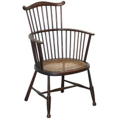 English Windsor Comb Spindle Back Armchair with Rare Rattan Seat, circa 1900